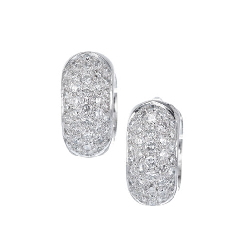 1.50 Carat Diamond Pave White Gold Huggie Hoop Earrings