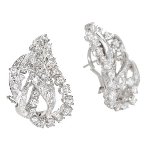 3.25 Carat Diamond Gold Swirl Earrings