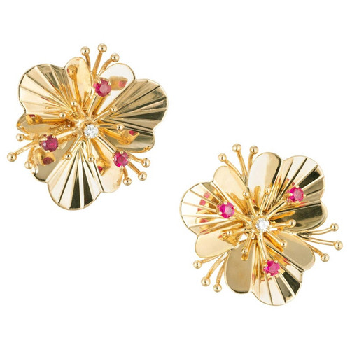 .60 Carat Ruby Diamond Yellow Gold Flower Earrings