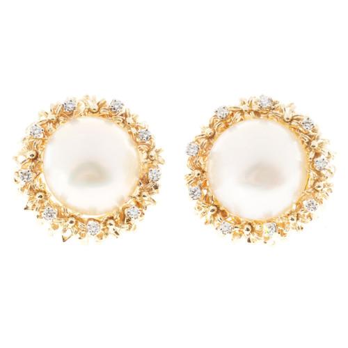 1950'S 17mm Fine High Lustre Mabe Pearl 14k .55CT Diamond Clip Post Earrings
