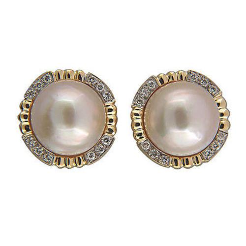 Vintage 15mm Pink Mobe Pearl 14k Frame .40CT Diamond Clip & Post Earrings