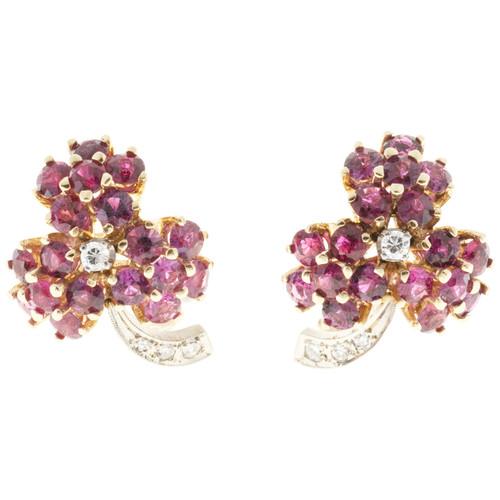 Vintage Estate 5.50ct Ruby .18ct Diamond 14k Flower Earrings