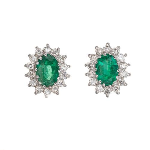 1.75 Carat Bright Green Oval Emerald Diamond Halo Earrings