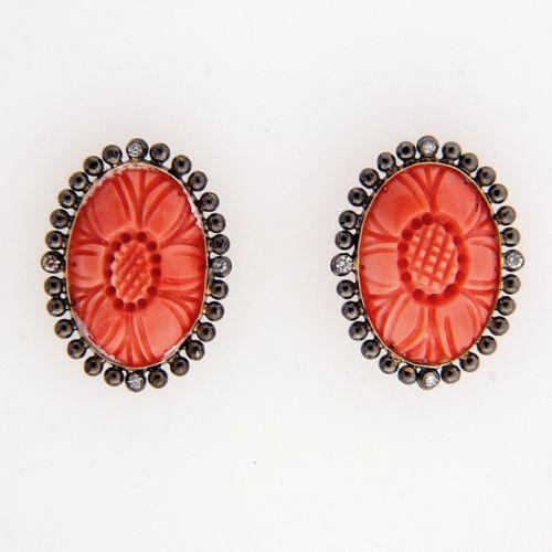 OTS Vintage Antique Victorian Revival Pink Coral 9k Gold .04ct Diamond Earrings