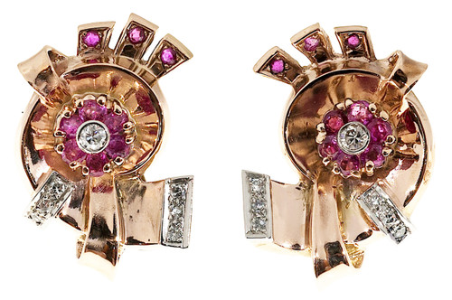 Vintage Art Deco 14k Pink Gold .50ct Ruby .16ct Diamond Earrings