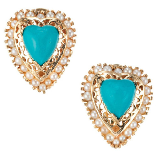 Heart Turquoise Pearl Yellow Gold Clip Post Earrings