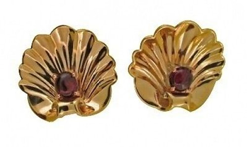 Estate 1940'S Retro 14k Gold Scallop Yellow Gold Red Ruby Shell Pierced Earrings