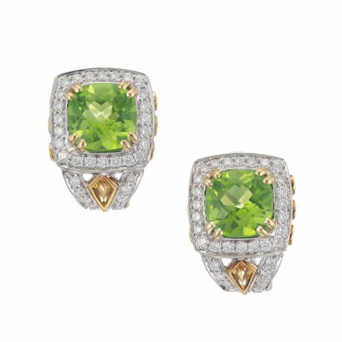 Vintage Charles Krypell 4.46ct Peridot Yellow Sapphire 18k Diamond Earrings