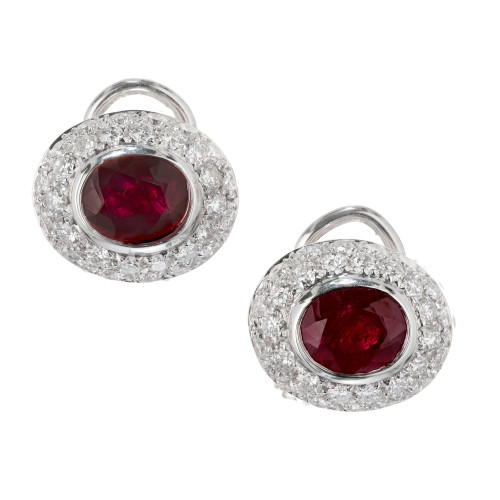 3.10 Carat Oval Ruby Pave Diamond Gold Clip Post Earrings
