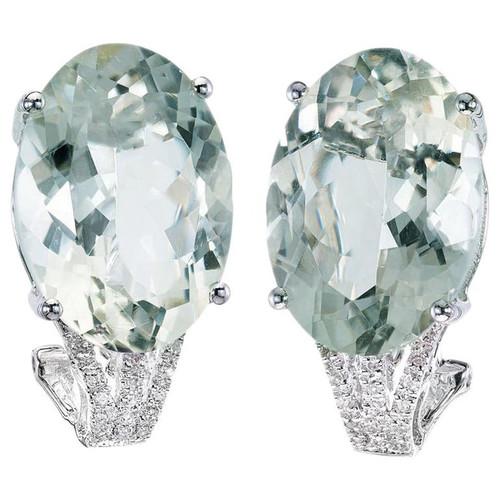 21.00 Carat Green Quartz Diamond White Gold Earrings