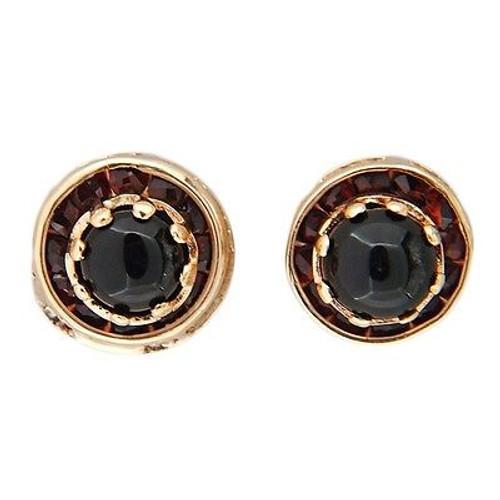Vintage Cabochon Onyx Center Channel Set Garnet 14k Yellow Gold Pierced Earrings