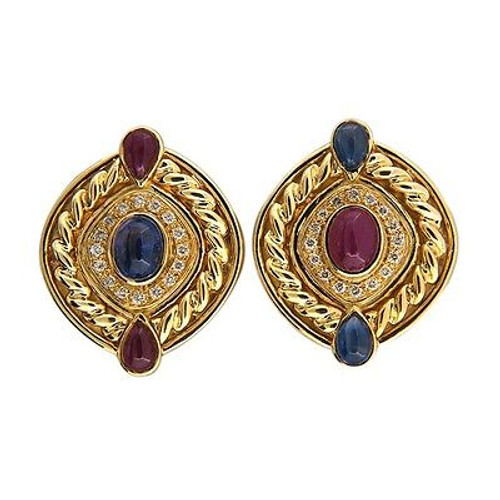 Vintage 3.50ct Cabochon Ruby 3.50ct Sapphire .50ct Diamond 18k Clip Earrings