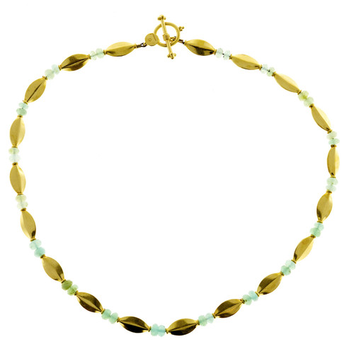 Bluish Green Faceted Bead 22k Toggle Link Necklace
