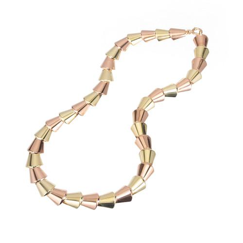 Vintage Wefferling Berry 14k Rose Green Gold  Domed Link Necklace