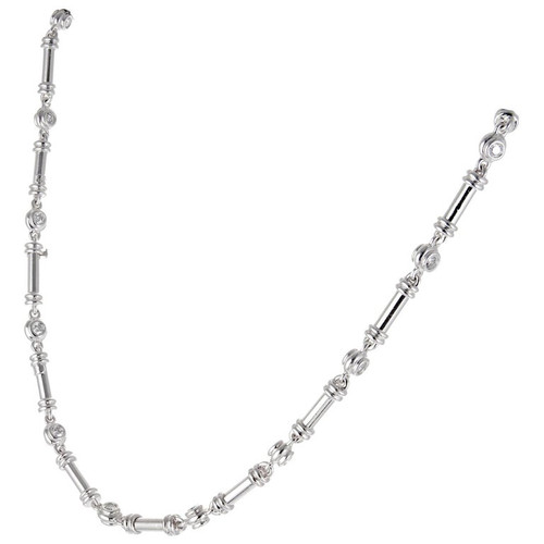 Scott Kay 2.35 Carat Diamond Platinum Bar Link Necklace