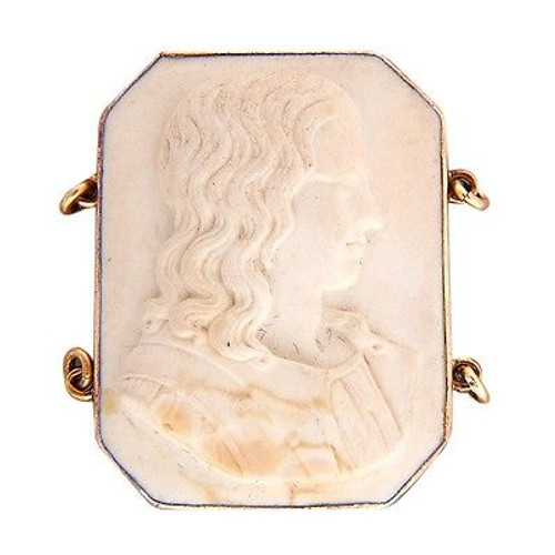 Estate 1880-1890 14k Gold Raphael Off White Lava Carvng