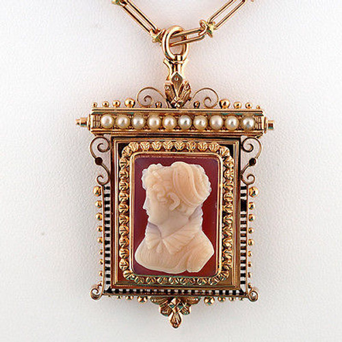 Vintage 1870 Victorian 15k Pink Gold Carved Carnelian Hard Stone Pin Pendant