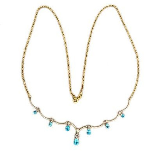 Vintage Blue Pear Topaz 7 Stone 2.50ct 14k Gold Full Cut Diamond 22 In Necklace