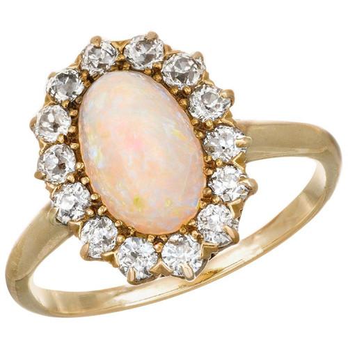1.85 Carat Opal Diamond  Opal Yellow Gold Cocktail  Ring