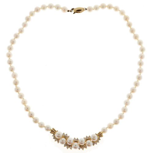 Vintage 1960 Pearl 14k Yellow Gold Diamond 6.25mm Necklace 1.00ct