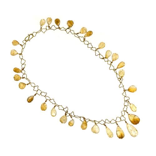 Vintage 145ct Citrine Carved Drops 18k Yellow Gold Quartz Adjustable Necklace