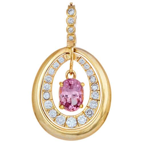 1.50 Carat Pink Spinel Diamond  Yellow Gold Pendant