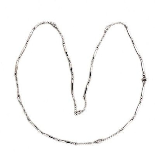 Vintage 20 Inch Platinum Bar Link .15ct Diamond By The Yard Chain Necklace