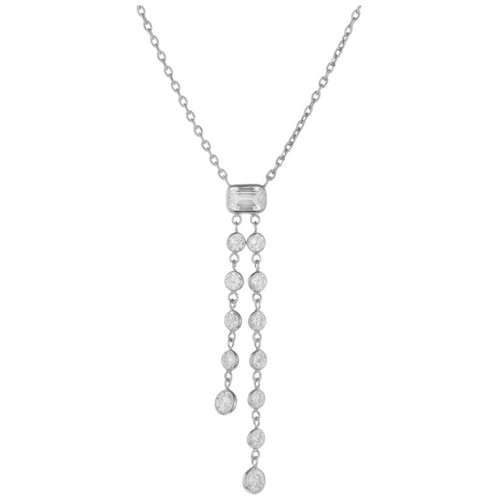 1.65 Carat Diamond Round Emerald Cut Dangle Drop Necklace
