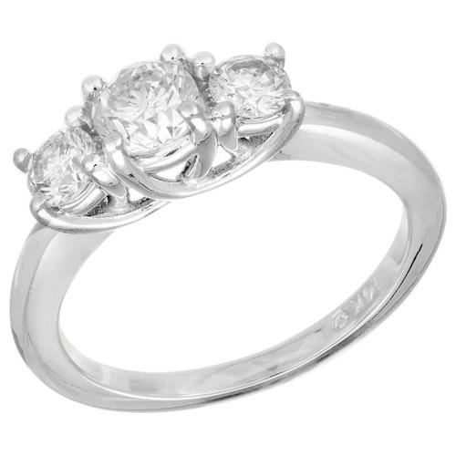 EGL Certified .54 Carat Diamond White Gold Three-Stone Engagement Ring