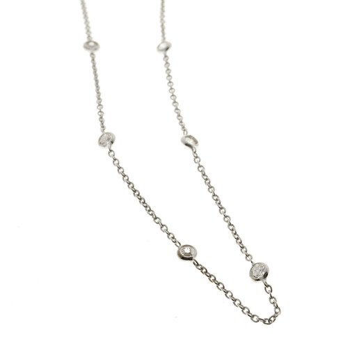 Diamond By The Yard .56ct 10 Diamond 18 Inch Necklace 14k White Gold