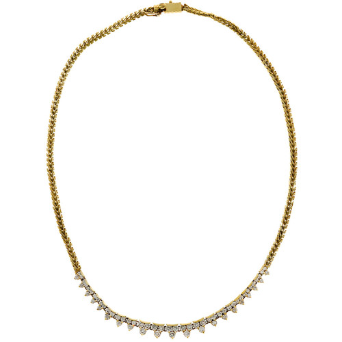 Round Diamond 4.00ct 18k Flexible Link Necklace
