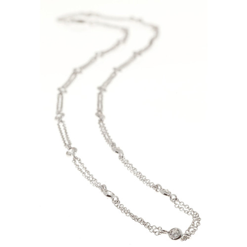 Infinity Diamond By The Yard 1.45ct 18 Inch 14k White Gold Necklace