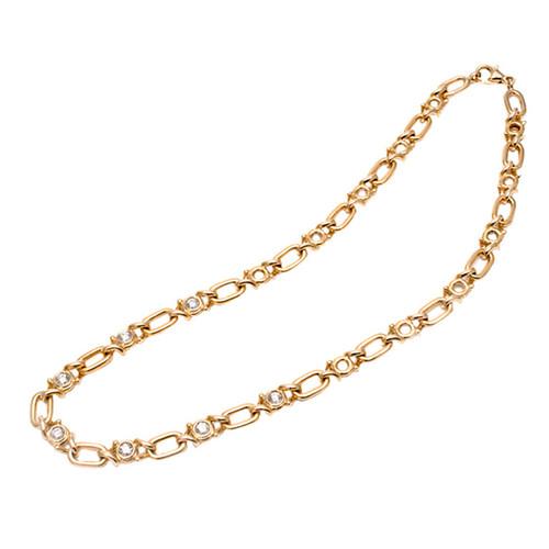 Fred Paris 1.70 Carat Diamond Gold Open Link Chain Necklace