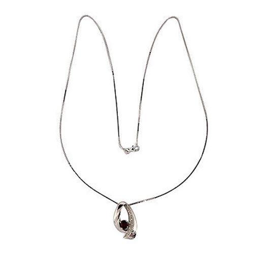 Vintage 14k White Gold Swirl Design Ruby & Diamond Pendant White Gold Box Chain