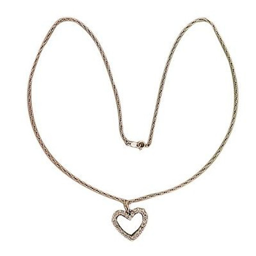 1950s 14k White Gold Open Heart G. 24 Diamond .75ct Pendant 18 Inch Rope Chain
