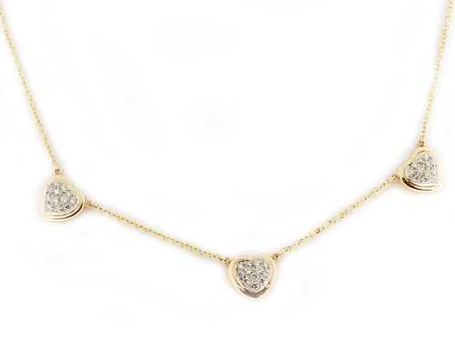 14k Yellow Gold Three Heart Pave Diamond Necklace 19 Inch Chain