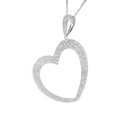 MRB .65 Carat Diamond White Gold Open Heart Pendant Necklace