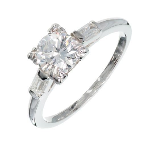 Art Deco .74 Carat Diamond Platinum Engagement Ring
