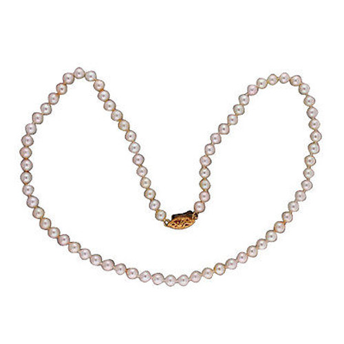Vintage  80 Cultured Pearl 4.5mm AA+ Japanese Akoya 16 Inch Necklace 18k Gold