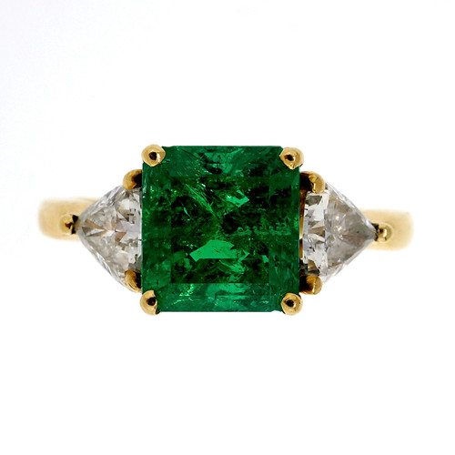 1.60 Carat Emerald Diamond Yellow Gold Ring