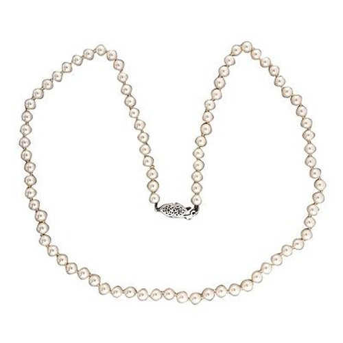 Vintage 5mm 19 Inch Japanese Cultured Pearl 14k White Gold Necklace 19 Inch