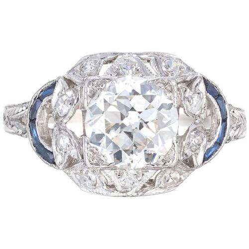 EGL 1.30 Carat Diamond Sapphire Engraved Platinum Edwardian Engagement Ring