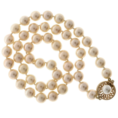 Vintage Cream 7 To 7.5mm Japanese Cultured Pearl 16 Inch Necklace 14k Catch