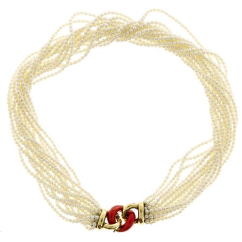 Estate 18k Gold 13 Strand Akoya Pearl Necklace Multicolor Enameled Center Link