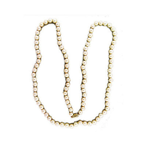 Estate 30 Inch Strand 7mm 101 Japanese Akoya Cultured Pearl Necklace 14k Gold