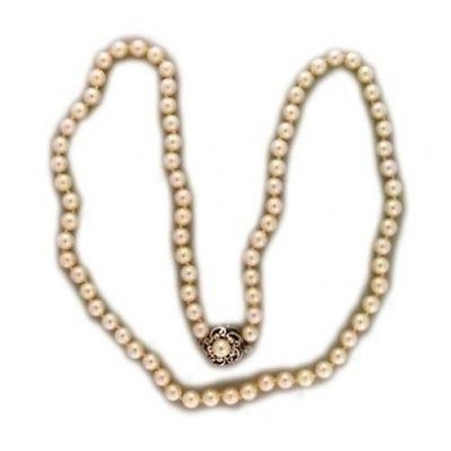 Vintage Good Slender 24 Inch Strand 6.5MM Akoya Natural Pearls Necklace Flower