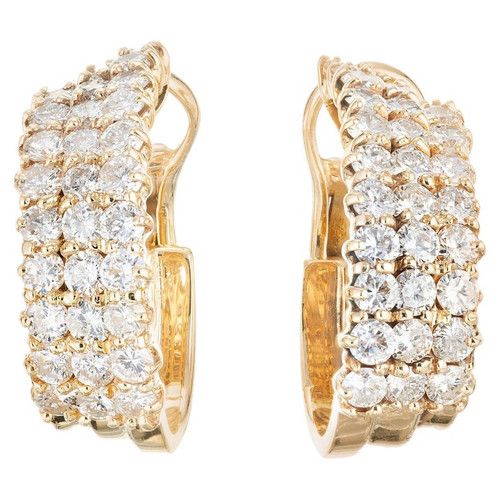4.25 Carat  Diamond Yellow Gold Hoop Earrings