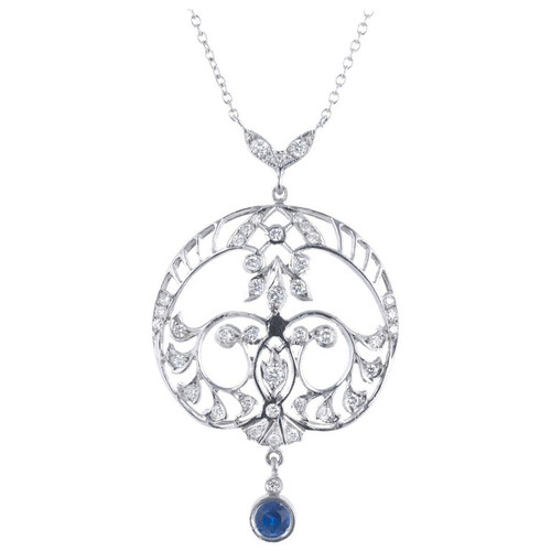 Sapphire Diamond Platinum Filigree Art Deco Drop Pendant Necklace