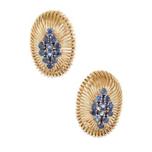Sapphire Clip Post 18k Yellow White Gold Earrings
