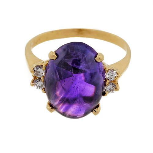 Pink Gold 1940 14k 5.00ct Purple Amethyst Cabochon Diamond Ring